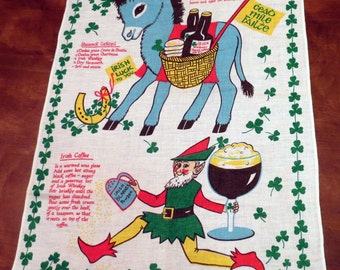 Vintage Ireland Tea Towel Erika Leprechaun Whiskey Luck Clover