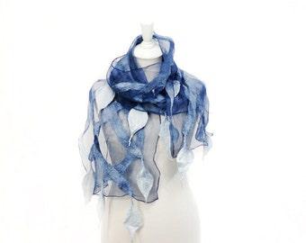 Felted scarf, scarf, felt, wrap, silk, wool, mountain blue, silver, women, gift, accesories, art, leaves