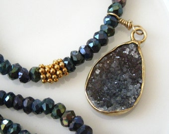 Boho Chic Druzy Necklace Drusy Necklace Black Spinel Necklace