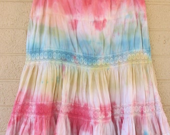 rainbow tie dye skirt