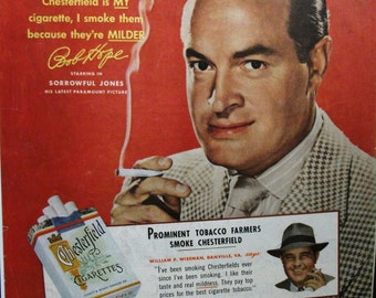 "Movies ... 136  ""Bob Hope"" for Chesterfield Cigarettes"" Ad  -  1949"