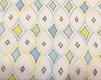 Diamond shaped fabric | Cotton Twill fabric | Blue Yellow Green White