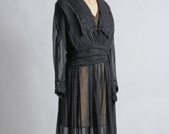 ON SALE Black Edwardian Gown 1910s Antique Dress