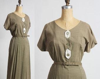 ON SALE Olive Green Dress . Slubbed Cotton