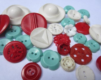 Vintage Buttons - Cottage chic mix of aqua/turquoise, red and white lot of 29 old and sweet(oct 126)