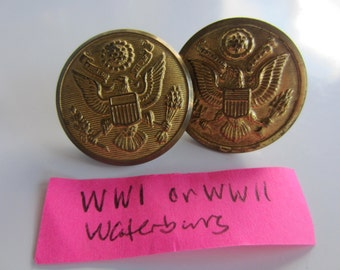 Vintage  Buttons - 2 Waterbury WW1 or WW11 large military eagle crested gold metal, Collector, ( oct 342