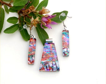 Fused dichroic glass pendant and earring set, three layers, earth red brow, blue, silver