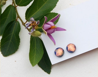 214 Fused dichroic glass earrings, round, sparkle, pastel peach with two bug eyes in dark purple