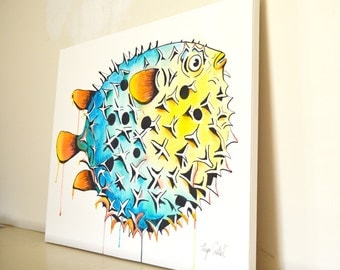 Pufferfish Original Painting, gouache watercolor, large art on canvas, 16 x 20