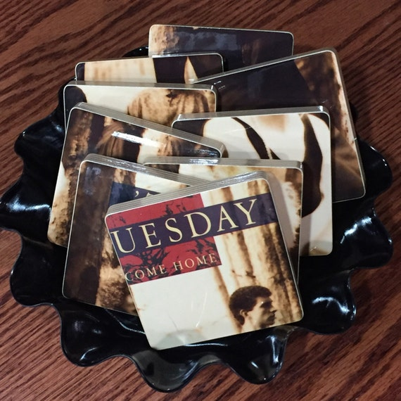 TIL TUESDAY recycled Welcome Home album cover coasters and record bowl