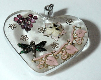 Fantasy and Flowers Large See Through Heart Pendant Vintage Assemblage and Resin Ornament Sun Catcher Dragon Fly Flowers and Acrylics D3