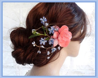 floral hair clip, bridal hair piece, coral hair clip, blue hair flower, periwinkle blue hair accessory, bridal headpiece, wedding hair clip
