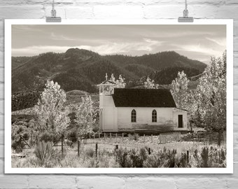 Country Church, Landscape Photograph, Western Picture, Rural America, Countryside, Black and White, Autumn Art, Mountain Photo