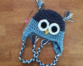 Newborn owl hat.. Earflaps owl hat.. Ready to ship.. Photo prop  blue