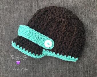 Newborn brim hat... Newsboy hat.. Brown baseball cap.. Photography prop.. Ready to ship