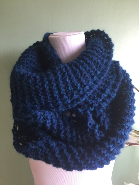 Outlander Inspired Hand Knit Infinity Fashion Scarf with Alpaca Yarn Soft and Lightweight Atlantic Heather