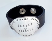 Personalized Family Spoon Leather Cuff - Silverware Jewelry - Hand Stamped Spoon Jewelry