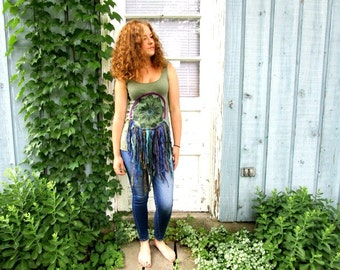 XS-S-M Painted Doily Dream Catcher Olive Green Tank Top// Upcycled Repurposed//emmevielle