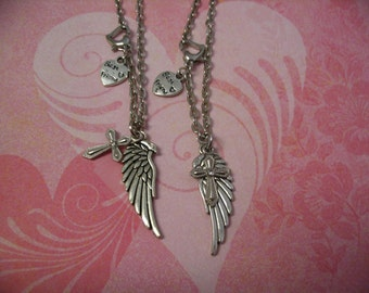 Best Friend Angel Wing and Cross Necklace Set for Sisters Best Friend or Mother Daughter Gift