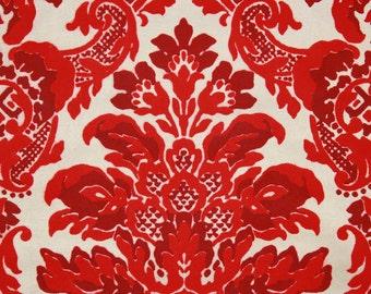 1970's Retro Vintage Flocked Wallpaper Red Flock Design on Gold