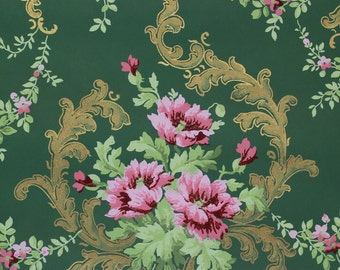 1900's Vintage Antique Wallpaper Pink Rose Bouquets with Gold Metallic Accents on Green