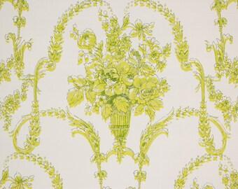 1970's Vintage Wallpaper Vinyl Chartreuse Roses Victorian Design