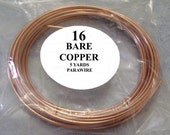 Bare Copper Wire - One 5 Yard Length of 16 Gauge Uncoated Copper Dead Soft Wire, Great for Jewelry Projects, Wire Wrapping and Oxidizing