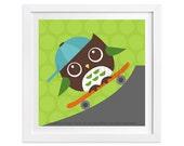 104 Owl Nursery Print - Owl on Skateboard Wall Art - Woodland Nursery Boy Decor - Boy Wall Art  - Skateboard Print - Baby Boy Nursery Art