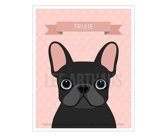 24N Dog Art - Personalized Black French Bulldog Wall Art - French Bulldog Prints - Custom Name Dog Print - Frenchie Dog Prints - Dog Drawing