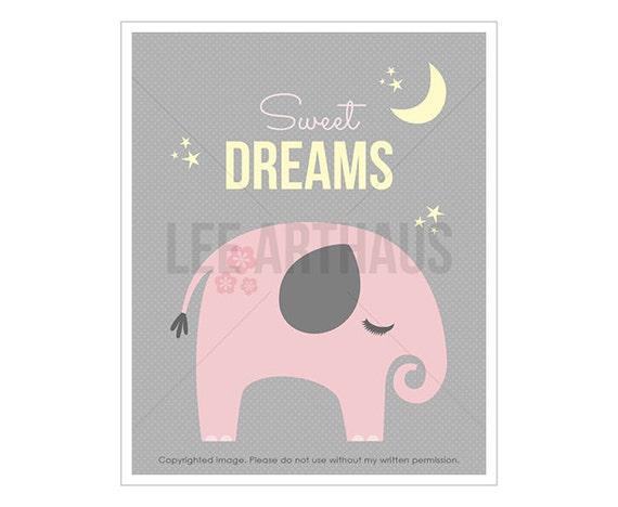 8T Elephant Nursery Print - Sweet Dreams - Baby Pink Elephant Wall Art - Elephant Decor - Dreams Wall Art - Jungle Theme Nursery - Pink Art