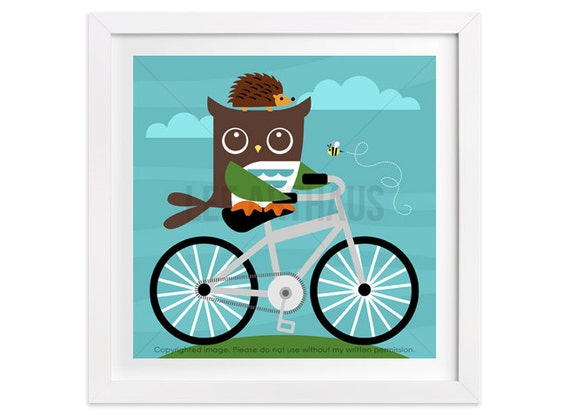 172 Owl Print - Owl and Hedgehog on Bicycle Wall Art - Hedgehog Wall Art - Bicycle Print - Bicycle Art - Owl Nursery - Owl Decor - Owl Gift
