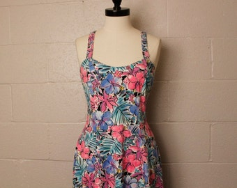 Vintage 1980's Catchin Rays Cotton Hawaiian Floral Dress M