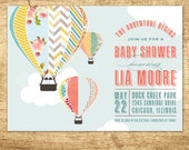 Baby Shower Invitation, Hot Air Balloon Baby Shower Invitation, Up and Up Away Hot Air Balloon, Hot Air Balloon Shower, Baby Boy, Baby Girl