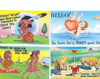 Linen Postcards - Set of Four - Humorous