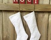 Vintage White Upcycled Mattelasse Holiday Christmas Stocking