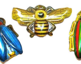 60s Tin Toy BUG brooches, 3 metal insect toy costume jewelry made in Japan.