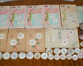 Antique Pearl Buttons On Original Cards and Large Ablone Buttons LOT Of 55 Vintage NOS