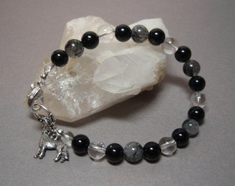 Black Wolf - Tourmalinated Quartz Onyx and Clear Quartz Crystal Gemstone Toggle Clasp Bracelet Metal Wolf Charm