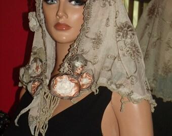 Mantilla Veil Flapper Wrap Aristocratic Ladies Antique style Headpiece