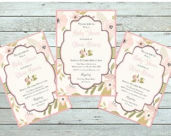 Antique flowers Printable Custom  Invitation, Baby Shower, Bridal Shower, Birthday, invitation