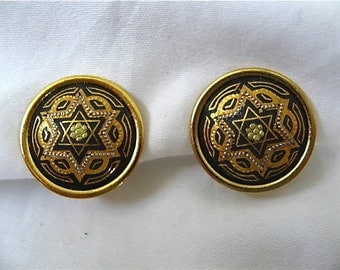 Vintage Damascene Jewish Star Earrings