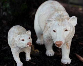 Spirit Bears - repainted custom altered Breyer Traditional mama and baby bear set