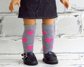 Doll Valentine Socks, Above the Knee Socks, Handmade to fit 18 inch Dolls, fits American Girl