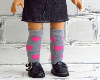 Doll Valentine Socks, Above the Knee Socks, Handmade to fit 18 inch Dolls, fits American Girl