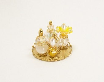 Yellow Gold Perfume Bottles Golden Elegance 1:12 Dollhouse Miniatures Scale