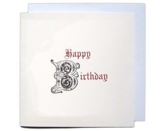 Letterpress Typeset Greetings Card - Happy Birthday