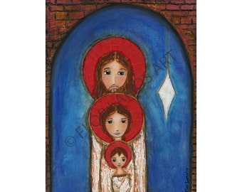 Holy Star Nativity - Original Mixed Media Painting on Canvas by FLOR LARIOS (11 x 14 Inches)
