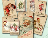 CHRISTMAS GREETINGS TAGS collage Digital Images  -printable download file-