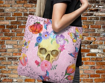 "Sugar Skull Tote Bag Over Sized 18"" x 18"" ""Thinking Pink"" Beach Bag Everything Bags"