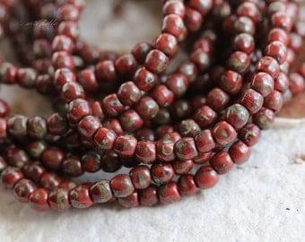 RED BITS .. 50 Picasso Czech Druk Glass Beads 3mm (5034-st)